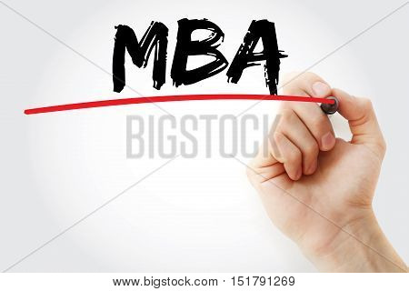 Hand Writing Mba With Marker