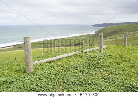 Metal Rope Fence, Tunkalilla Beach, Fleurieu Peninsula, South Australia