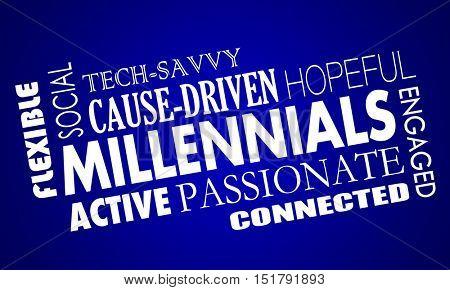 Millennials Generation Y Qualities Characteristics Word Collage 3d Illustration