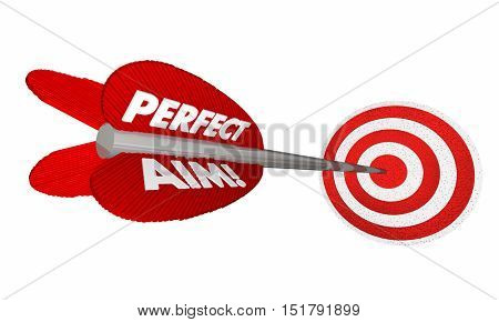 Perfect Aim Target Arrow Bulls Eye Success 3d Illustration