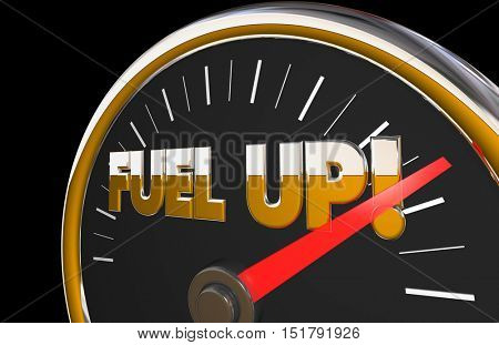 Fuel Up Gauge Gasoline Car Vehicle Needle Automotive 3d Illustration