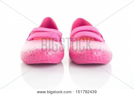 Female Pink rubber sandals on a white background.