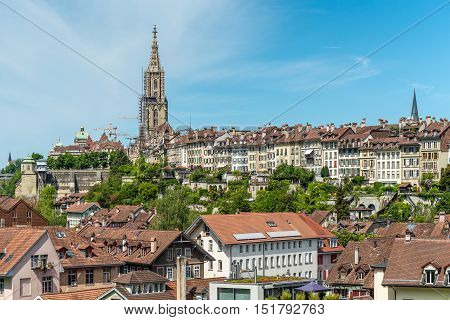 A cityscape of Bern medival city in Switzerland
