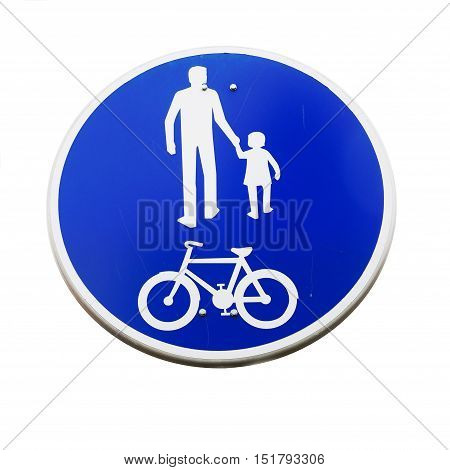 Finnish road sign indicating a compulsory track for pedestrians and cyclists isolated on white.