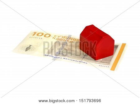 One little red house on Dannish 100 kroner banknote isolated on white.