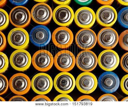 Close view of batteries alkaline 1.5 Volts in size AA