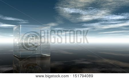 email symbol in glass cube under cloudy sky - 3d rendering