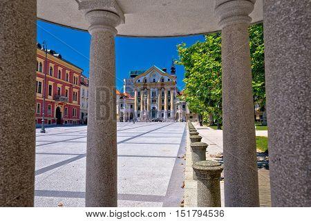 Ljubljana pavilion and church of Holy Trinity view capital of Slovenia