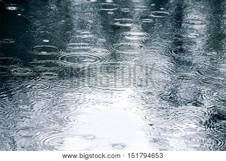 Raindrops Background With Sky Reflection And Water Circles On Pavement