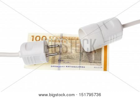 A disconnected pwer plug on Dannish 100 kroner banknote isolated on white.