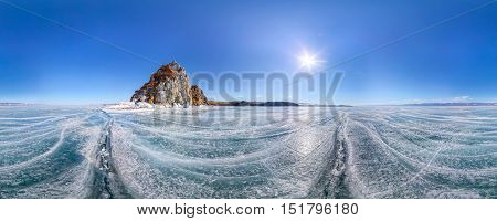 Panorama 360 Degree Shaman Rock Or Cape Burhan On Olkhon Island In Winter, Surrounded By The Blue Ic