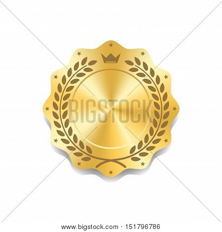 Seal award gold icon. Blank medal with laurel wreath isolated white background. Golden design emblem. Symbol of assurance winner guarantee and best label premium quality. Vector illustration