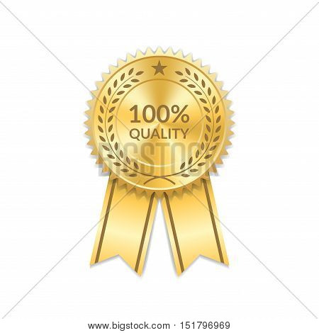 Award ribbon gold icon. Blank medal with laurel wreath isolated on white background. Stamp rosette design trophy. Golden symbol winner celebration sport competition champion. Vector illustration