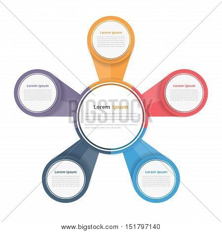 Circle diagram with five elements steps or options, flowchart or workflow diagram, template vector eps10 illustration