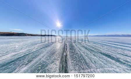 Large-format Panorama Wide Crack In The Ice Of Lake Baikal