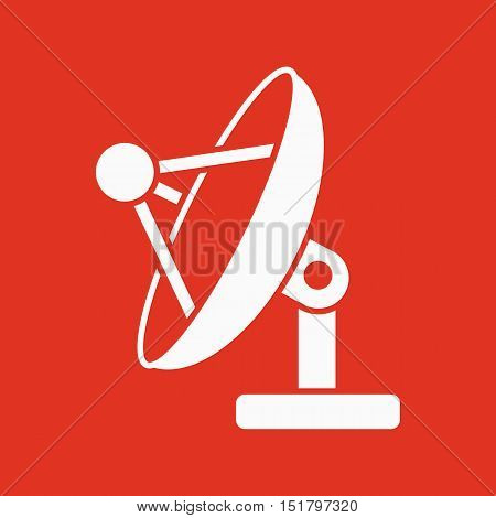 The satellite antenna icon. Communicate and broadcast, telecommunications symbol. Flat Vector illustration