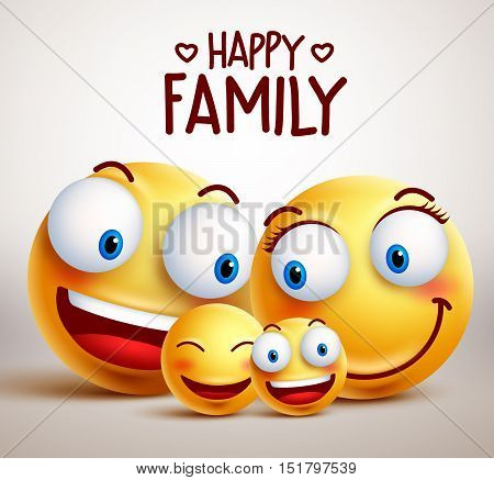 Happy family smiley face vector characters with father, mother and children bonding together while smiling. Vector illustration.