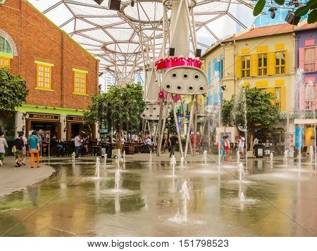 SINGAPORE, REPUBLIC OF SINGAPORE - JANUARY 10, 2014: Clarke Quay historical district in the Singapore