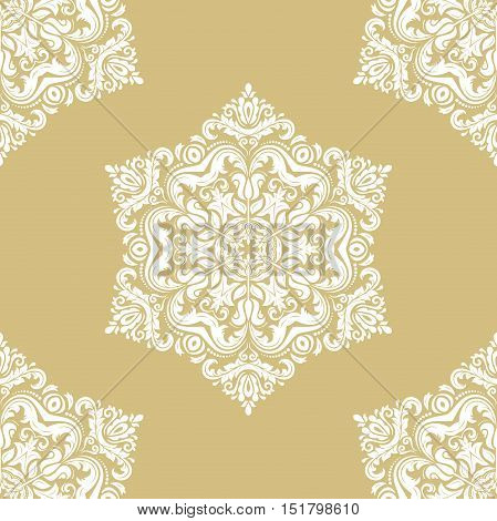 Seamless classic vector gold and white pattern. Traditional orient ornament