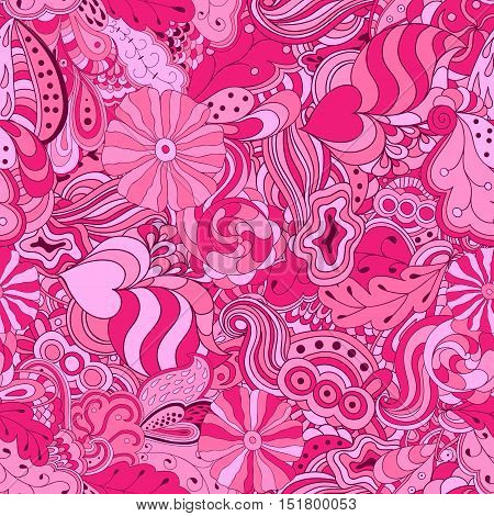 Seamless abstract hand drawn colorful pink waves pattern