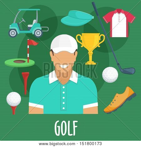 Golf sport equipment and outfit. Golf man player with accessories. Vector apparel icons of cap visor, golf club, ball, shoe, victory cup, pin, flag, hole, playing field, t-shirt, electro car cab