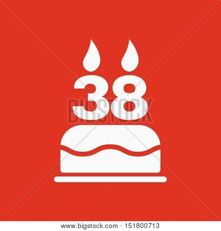 The birthday cake with candles in the form of number 38 icon. Birthday symbol. Flat Vector illustration