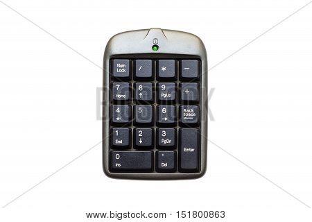 Close up of numeric keypad on white background