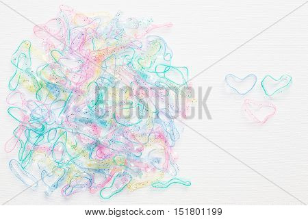 rubber bands for hair tie on white background