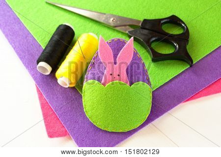 Easter egg and rabbit, sewing kit, felt kit, needle, scissors. Easter crafts
