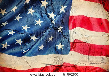 Horizontal American flag made of silk Close-up background. grunge processing