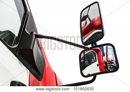 rear-view mirror on the truck isolated on a white background. reflected in rearview mirror.
