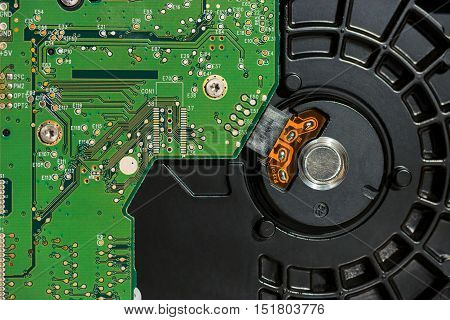 Inside of computer hard disk drive (part, close up)