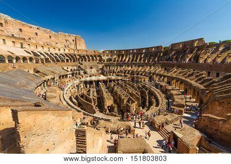 ROME - AUGUST 26: Interior of Roman Colosseum or Coliseum Amphitheatre on August 23 2016 in Rome