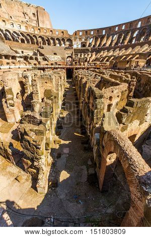 ROME - AUGUST 26: Interior of Roman Colosseum or Coliseum Amphitheatre on August 23 2016 in Rome