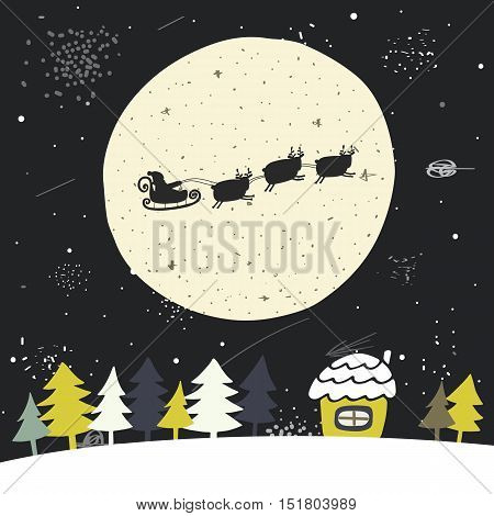 Cute hand drawn doodle Christmas background postcard with flying santa sledge deers full moon sky christmas trees house stars. New Year cover flyer