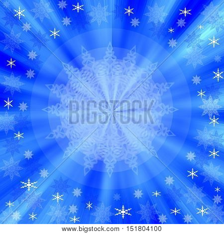 Blue Christmas frame with snowflakes and radial rays of light - abstract festive background