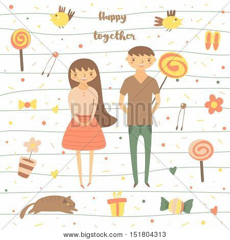 Card postcard about love relationship feeling friendship. Romantic couple surrounded with birds lollipops flowers cat present sweet polka dots Background for st valentines day
