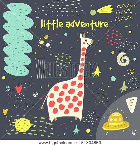 Cute hand drawn card postcard with giraffe stars planet galaxy comet alien ship meteorite hearts polka dots abstract elements Background cover for children in cartoon style