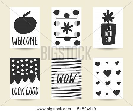 Cute hand drawn doodle black stylish birthday party baby shower cards brochures invitations with apple flower polka dots stripes frame hearts abstract elements Printable templates set