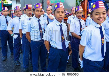 Kota Kinabalu,Sabah-Aug 31,2016:Kids of various Malaysian ethnic in their colorful costume participating to celebrate the Malaysia National Day at Kota Kinabalu,Sabah,Borneo,Malaysia on 31st Aug 2016.
