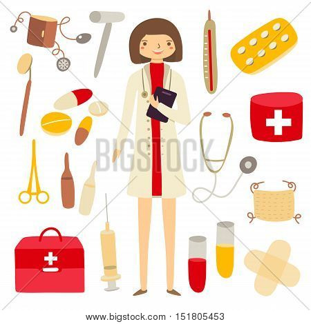 Hand drawn flat style woman doctor and medicine objects collection including first aid box pills scissors tubes mask plaster thermometer stethoscope doctor hat. Objects icons set for doctor