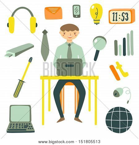 Hand drawn flat style computer specialist and objects collection including earphones screwdriver loupe bulb clock globe envelope laptop tie mouse usb phone Objects icons set for computer