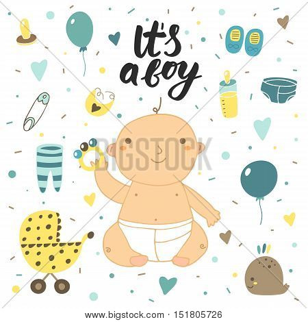 Cute hand drawn doodle baby shower cover card. It's a boy lettering postcard with baby boy milk bottle balloon whale socks hearts pin baby stroller nipple bib sliders rattle