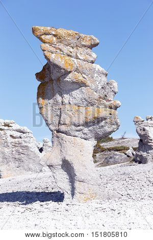 Sea stack eroded by hydraulic action in Langhammars rauk area at Faro in the Swedish province of Gotland.