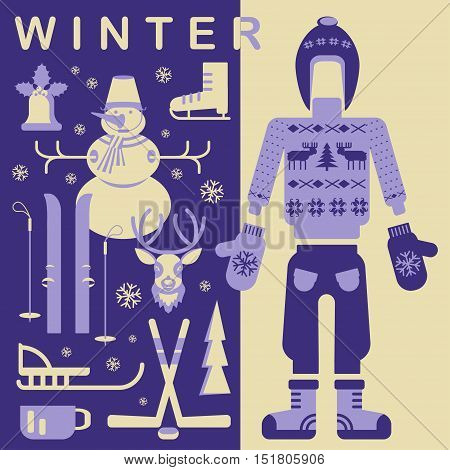 Set of unique winter clothes illustrations. Clipart collection with snowman, Christmas bell, reindeer, skiing, luge, skating, snowflakes and other. Vector elements for banner design of seasonal sell.
