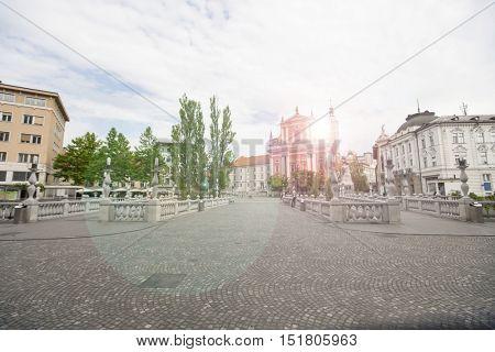Romantic Ljubljana's city center: