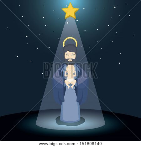 Joseph and baby jesus cartoon icon. Holy family and merry christmas season theme. Colorful design. Vector illustration