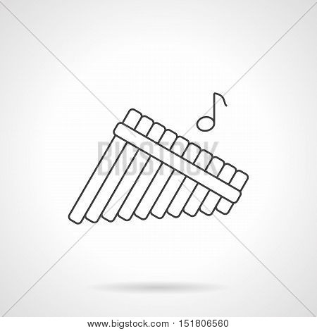 Pan flute symbol with single note. Panpipes, bamboo reed pipes. Woodwind musical instrument, pictogram for music store. Black flat line vector icon.