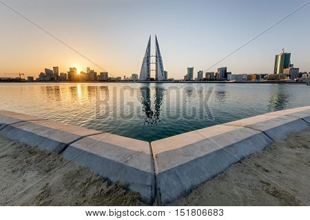 MANAMA, BAHRAIN - OCTOBER 14, 2016: Beautiful view of the World Trade Center and other high rise buildings in the city.