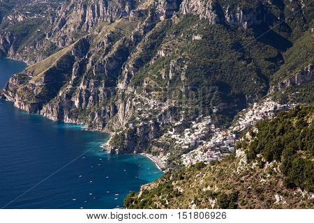 Aerial view of the picturesque Positano village on Amalfi coast